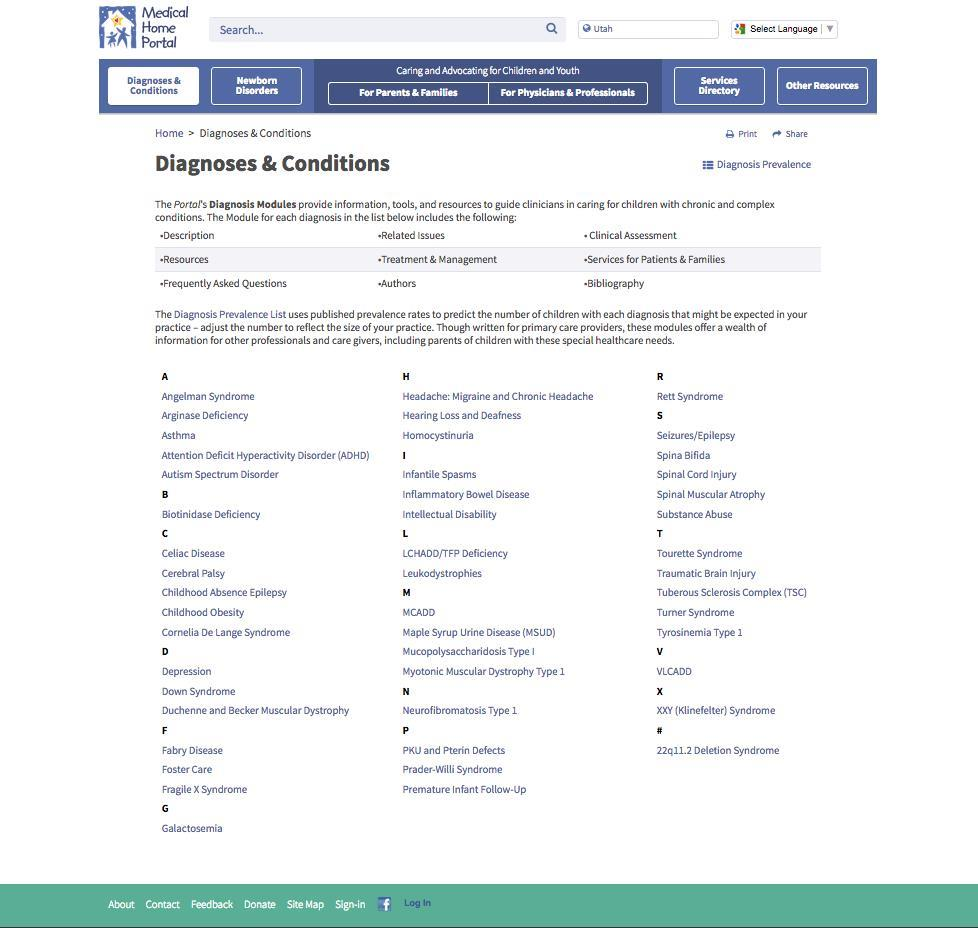 Diagnoses & Conditions landing page alpha columns